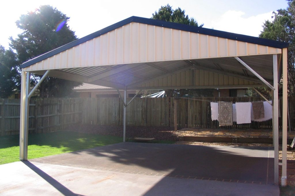Steel patios diy carport kits totally sheds for Gable roof carport