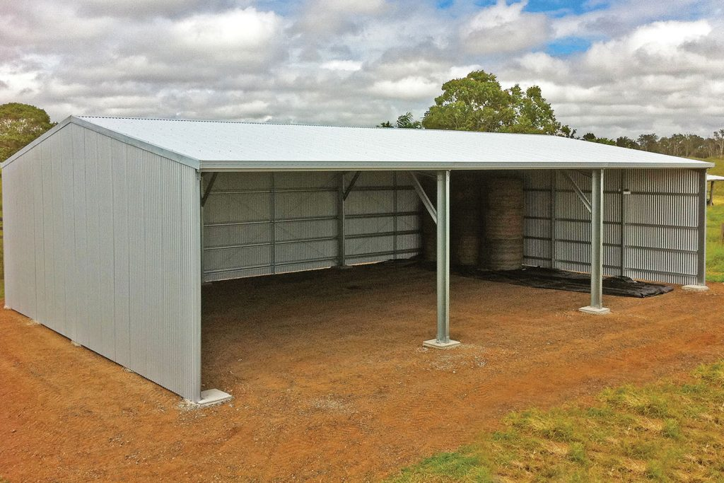 Farm sheds rural buildings custom machinery sheds hay shed for Open front shed